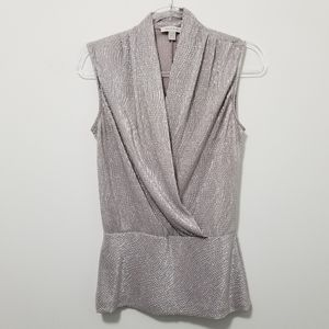 Silver BOSTON PROPER Sleeveless Top Draped Front